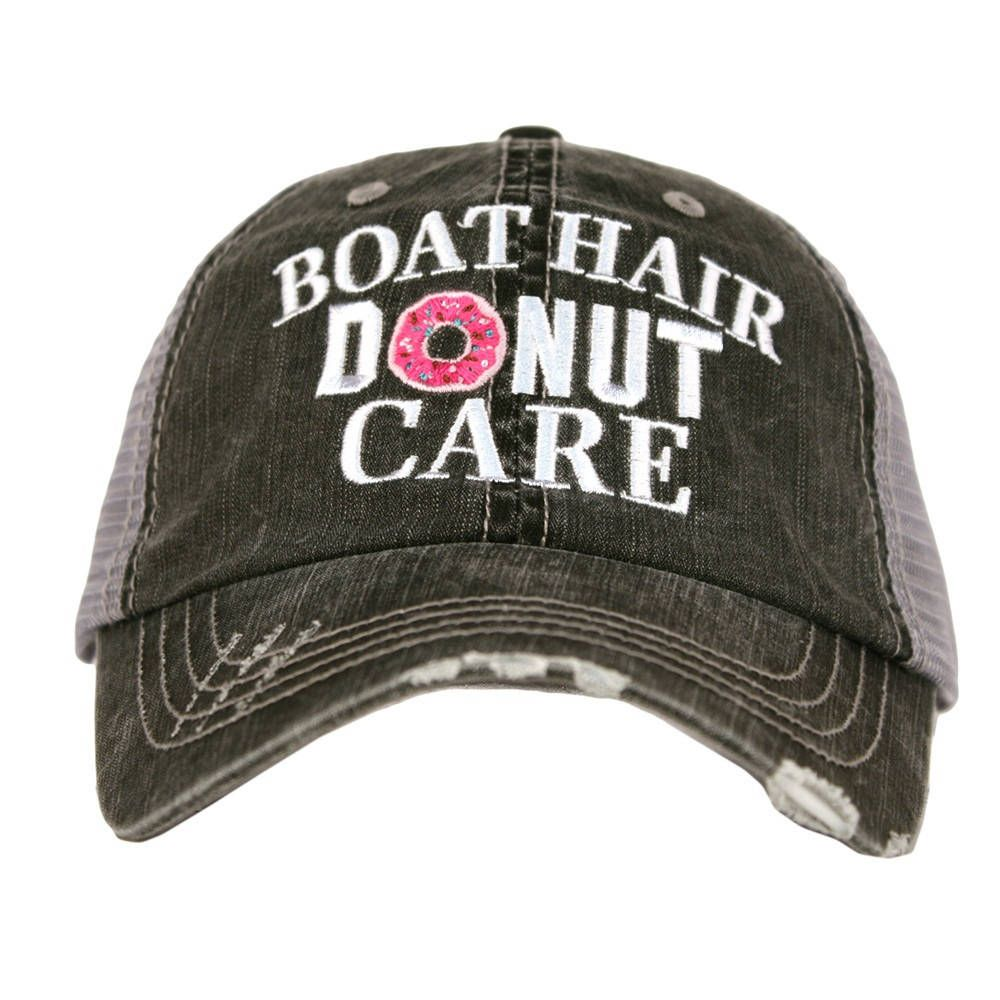 fc2e7652615 Distressed Trucker Hat - Boat Hair Donut Care Cap -Custom Trucker Cap - Trucker  Hat - Baseball Cap - Embroidered Trucker - Snapback Hat - by ...