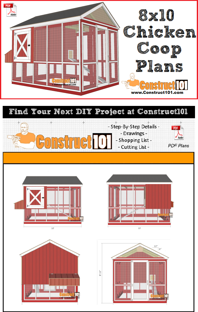 8x10 Chicken Coop Plans Free Pdf Download Material List And Step By Step Drawings Chickencoops Diy Chicken Coop Plans Portable Chicken Coop Chicken Diy