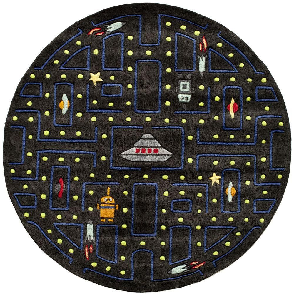 Momeni Caprice Arcade Black 5 ft. x 5 ft. Indoor Round Area Rug-21493 - The Home Depot