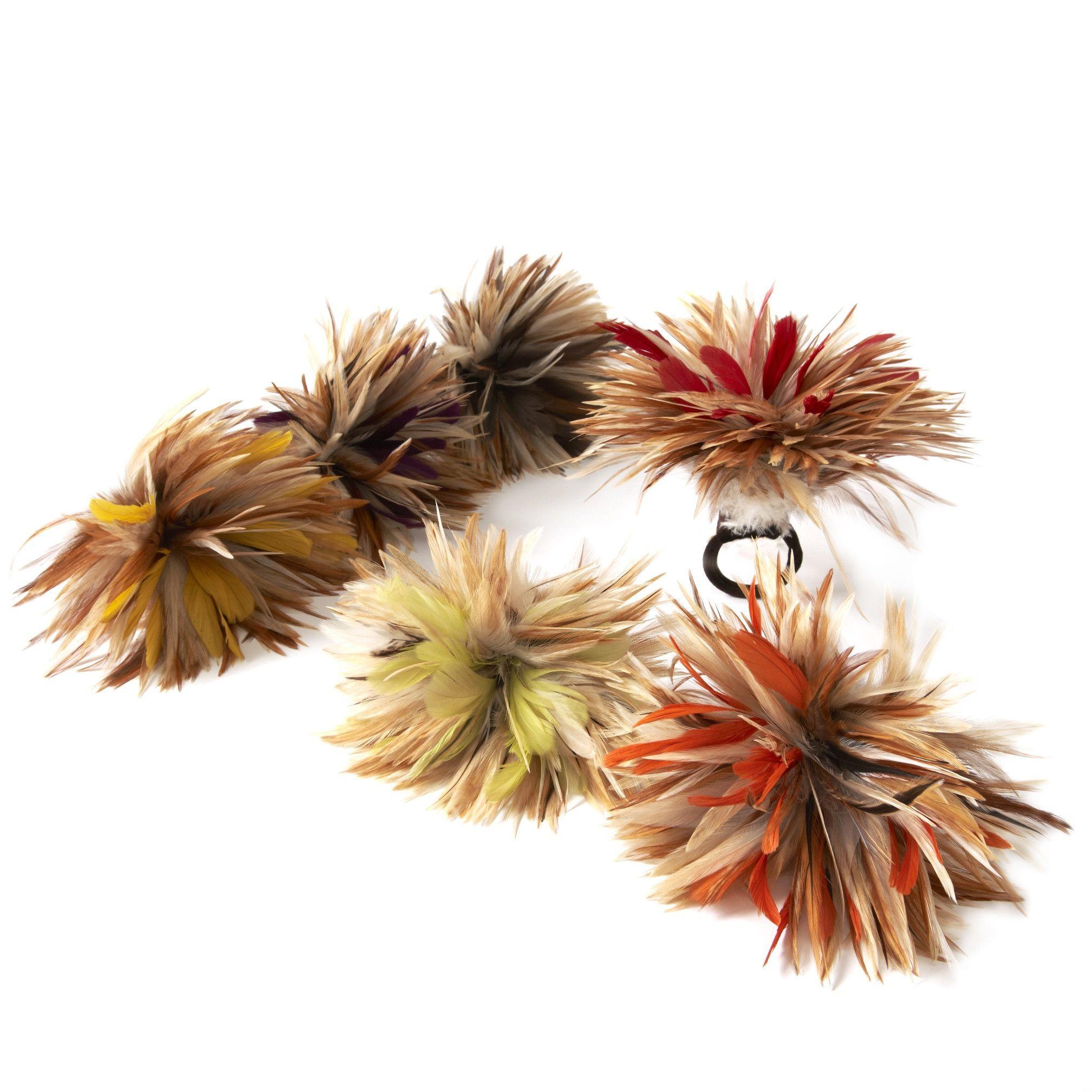 Deborah Rhodes Cream Autumn Feather Flower Napkin Ring - Set of 6