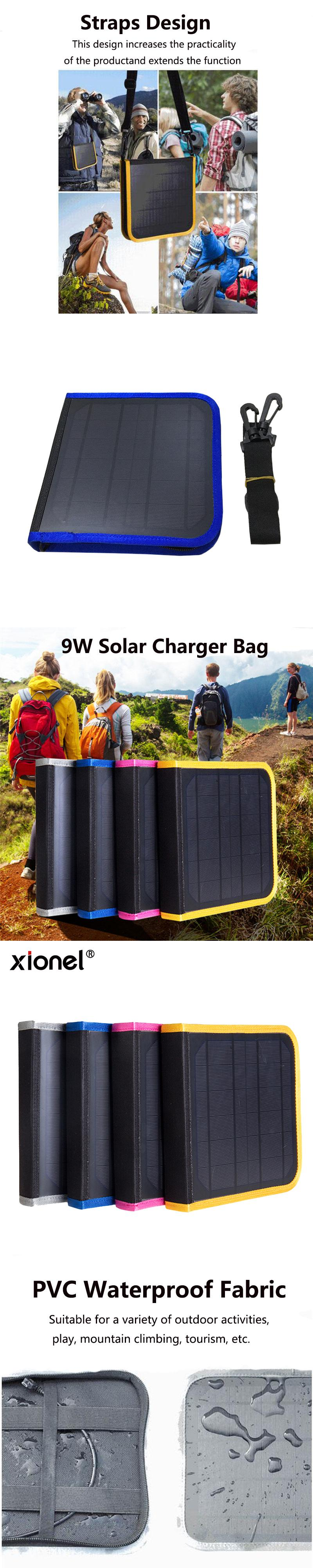 xionel outdoors portable solar charger bag 5v 9w solar panel charger