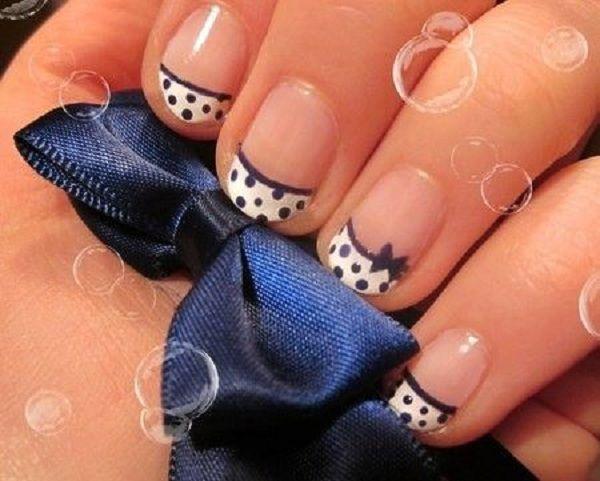 cute polka dots manicure with bow for short nails - 30 Adorable Polka Dots Nail Designs  <3 !