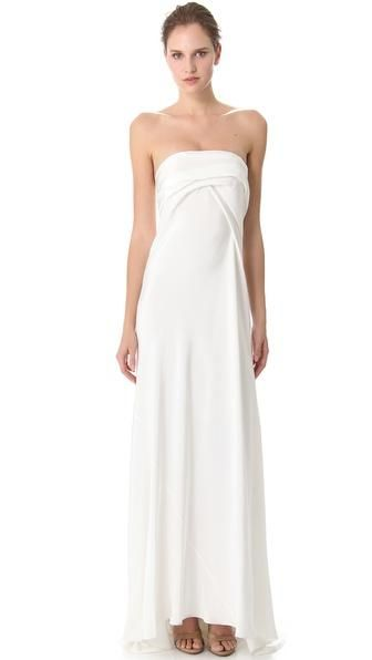 Donna Karan New York Bustier Evening Gown with Cascading Folded ...