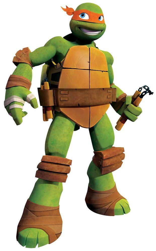 Boys wall sticker teenage mutant ninja turtles michelangelo standing massive