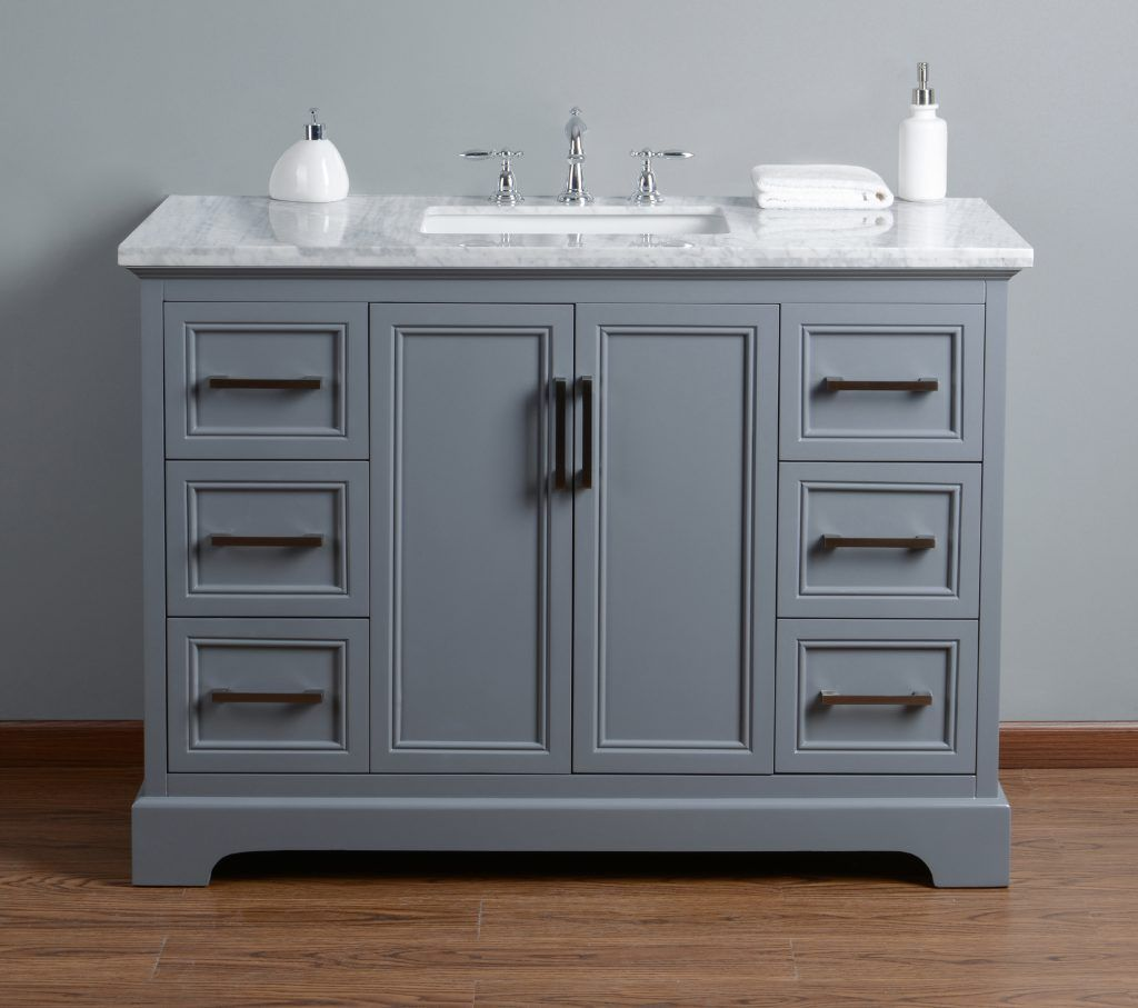 Stufurhome Ariane Inches Slate Gray Single Vanity Cabinet Single - 48 inch grey bathroom vanity