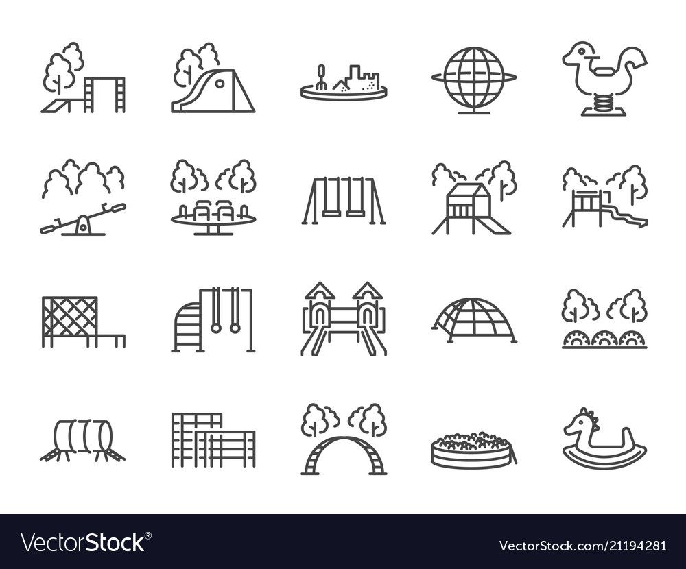 Playground Icon Set Royalty Free Vector Image Vectorstock Spon Set Royalty Playground Icon Ad In 2021 Coloring Book Art Book Art Drawing Ideas List