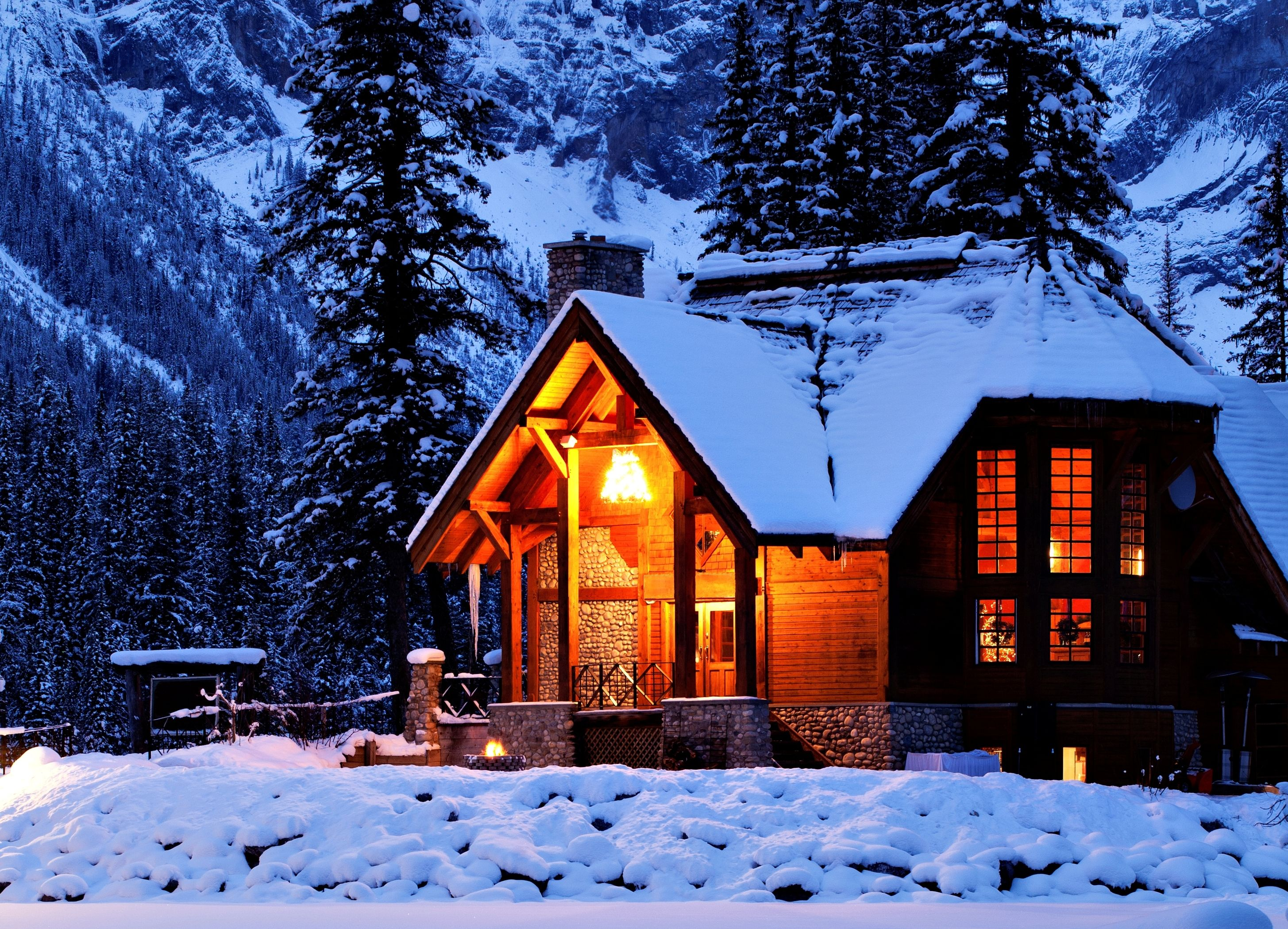 Winter Snow House Trees Mountains Landscape Wallpaper Background