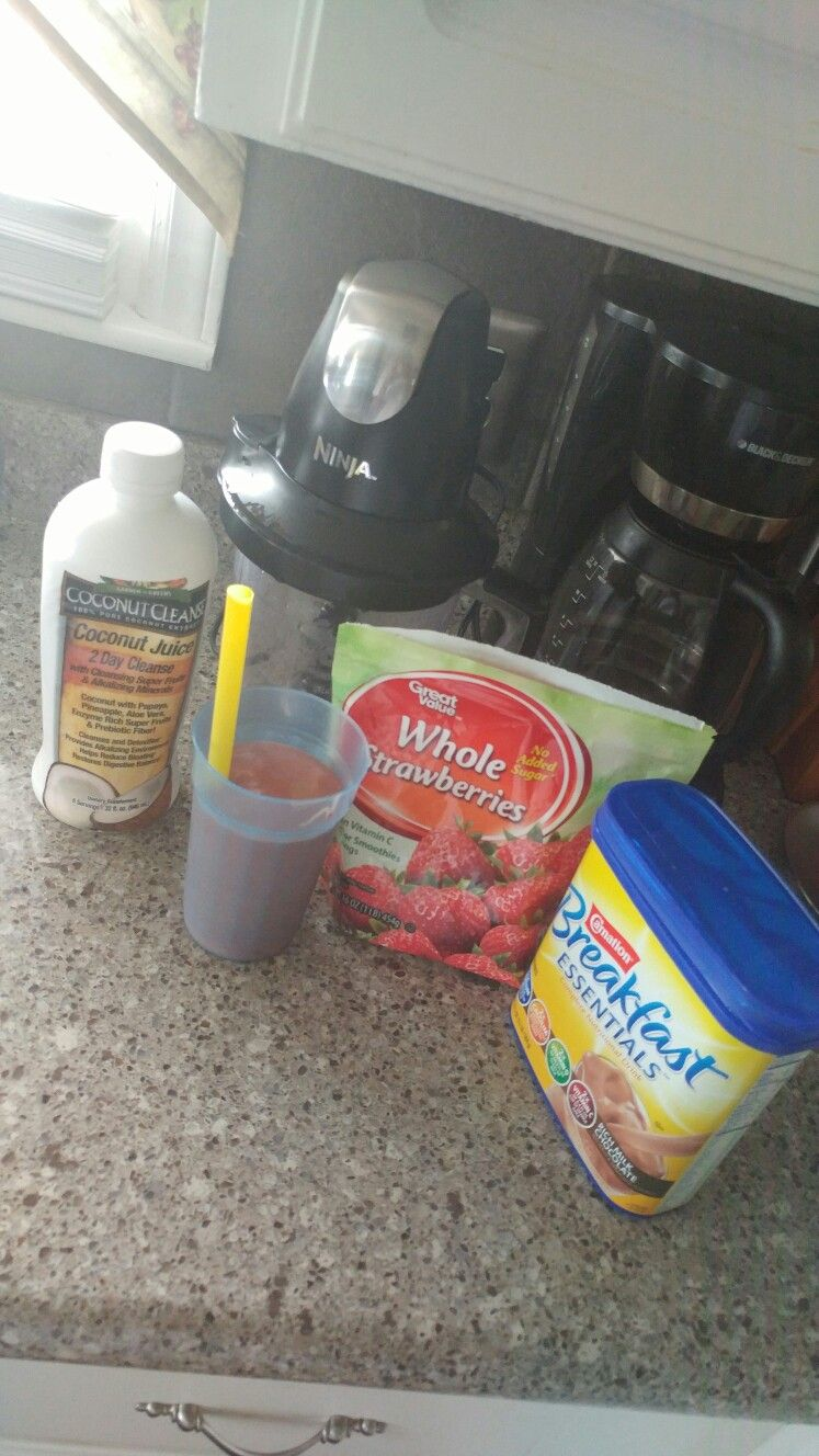 Chocolate covered strawberries protein shake Ingredients:  -1 cup- frozen strawberries  -1 cup of coconut juice  (Optional) 1 cup of milk or almond milk  -6 scoops of breakfast essentials chocolate nutritional drink  (Optional) any chocolate protein powder