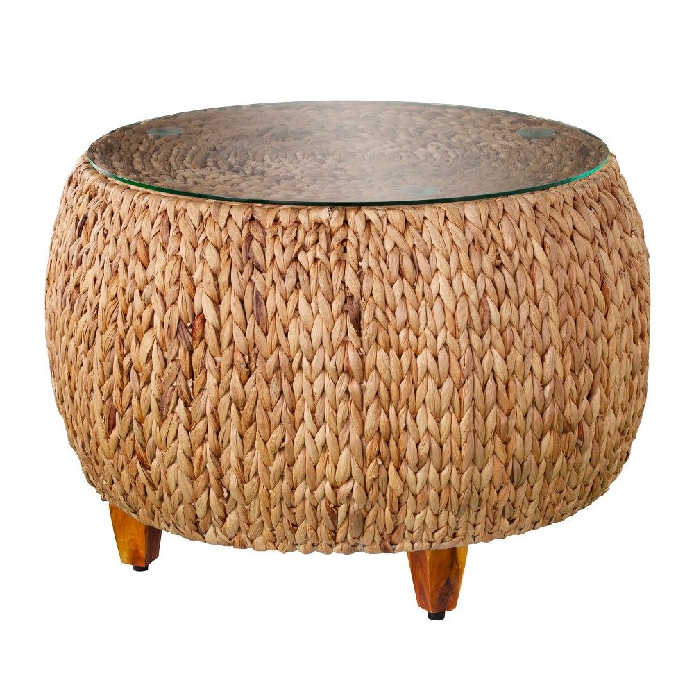 Joba Round Water Hyacinth Cocktail Table Brown Aiden Lane Wicker Coffee Table Coffee Table Glass Coffee Table [ 1000 x 1000 Pixel ]
