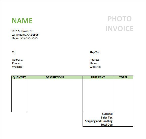 Sample Photography Invoice Template  Invoice