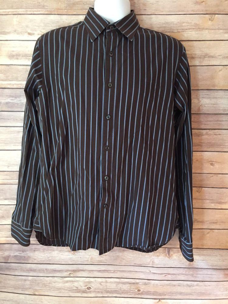 Michael Kors Size M Brown Blue Shirt #MichaelKors