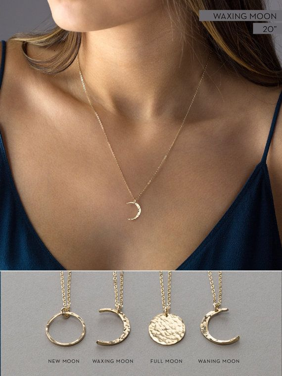 9501de405 Simple Moon Necklaces in 14k Gold Fill, Sterling Silver or Rose Gold Fill.  These Moon Phases Necklaces are dainty and gorgeous!