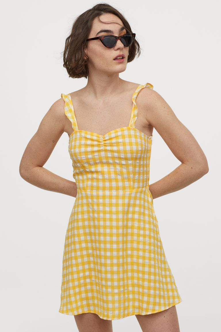 open-backed dress - yellow/gingham checked - ladies | h&m gb