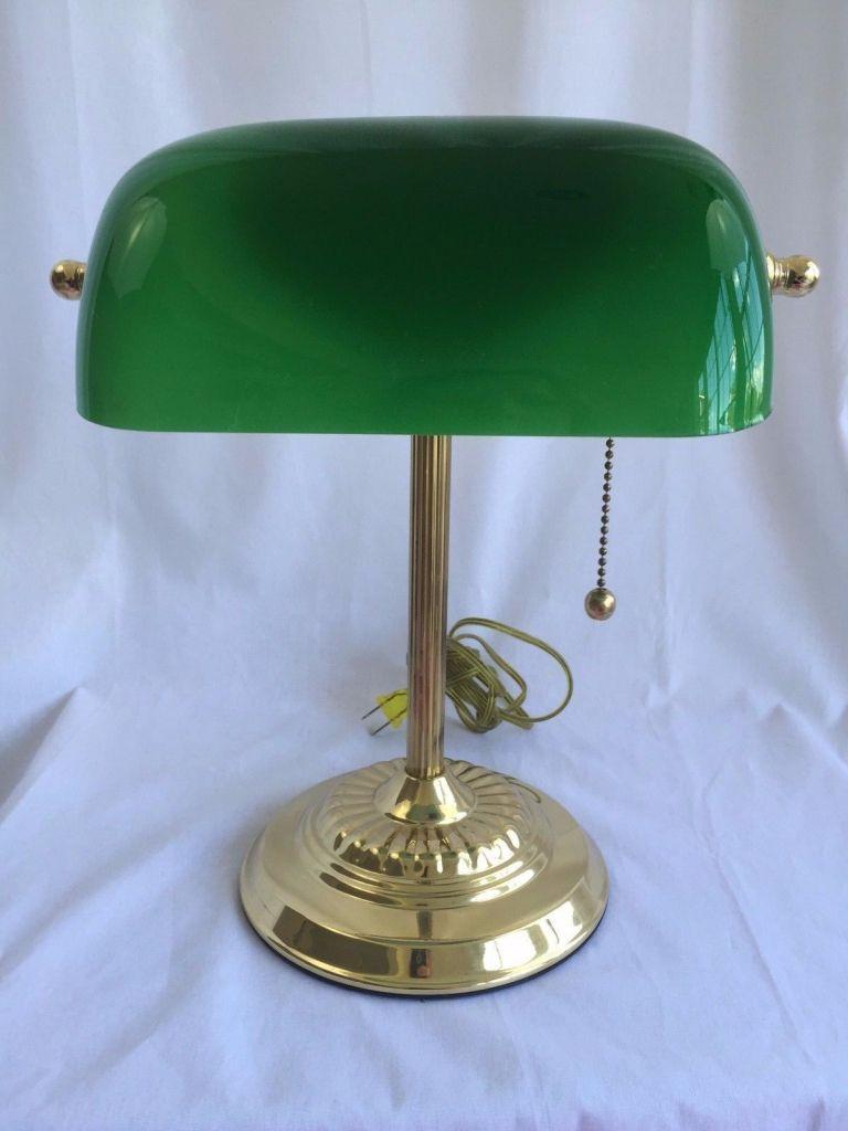 antiken Schreibtisch Lampe grünes Glas Schatten home office Möbel ...