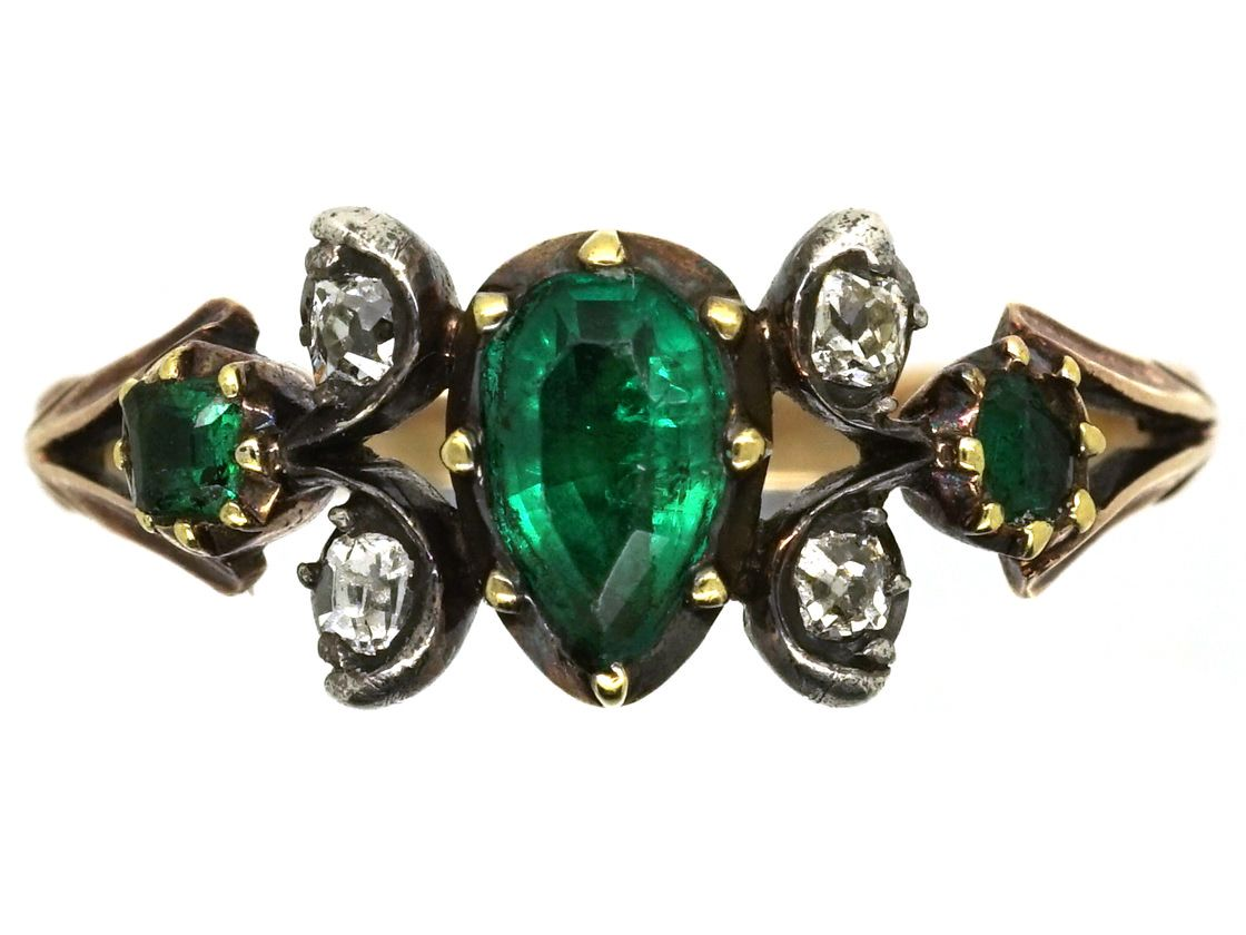 https://www.antiquejewellerycompany.com/shop/georgian-15ct-gold-pear-shaped-emerald-diamond-ring/#.WqJkmOdG2Uk