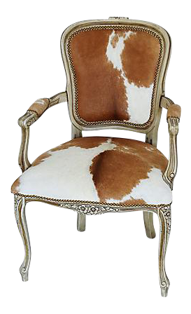Tremendous Vintage Carved Armchair W Brown White Hair On Hide Squirreltailoven Fun Painted Chair Ideas Images Squirreltailovenorg