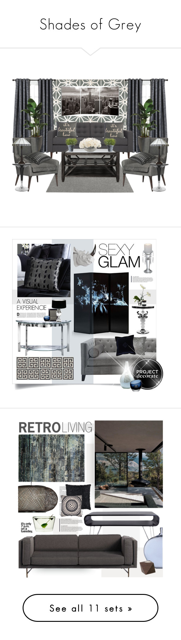 """""""Shades of Grey"""" by eightyjane ❤ liked on Polyvore featuring shadesofgrey, interior, interiors, interior design, home, home decor, interior decorating, Surya, Hey Sign and EQ3"""