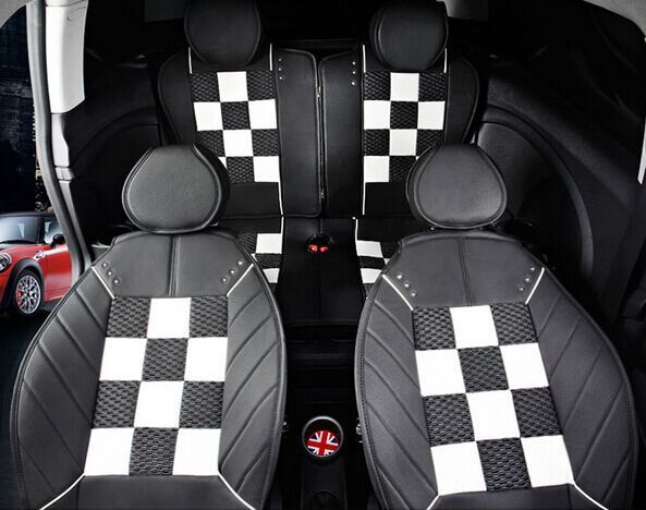 Checkered Four Seasons Leather Car Seat Covers For Mini Cooper S Convertible R56 Countryman Clubman F55 F Mini Cooper Leather Car Seat Covers Mini Accessories
