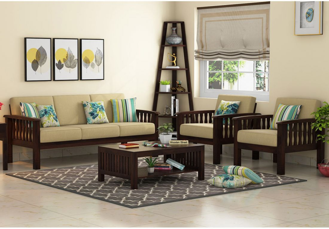 Buy Olympia Wooden Sofa Set Walnut Finish Online In India Wooden Street In 2020 Wooden Sofa Designs Wooden Sofa Set Sofa Set Designs