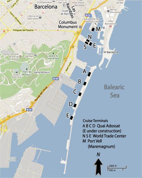 Barcelona Cruise Port Map @ Http://www.cruisetimetables