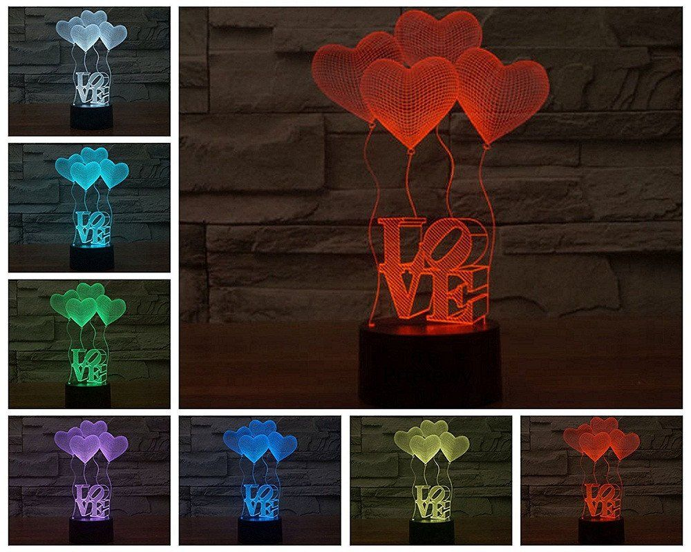 3D Desk Lamp 7 Colors Change with Remote Control Romantic LED Night ...