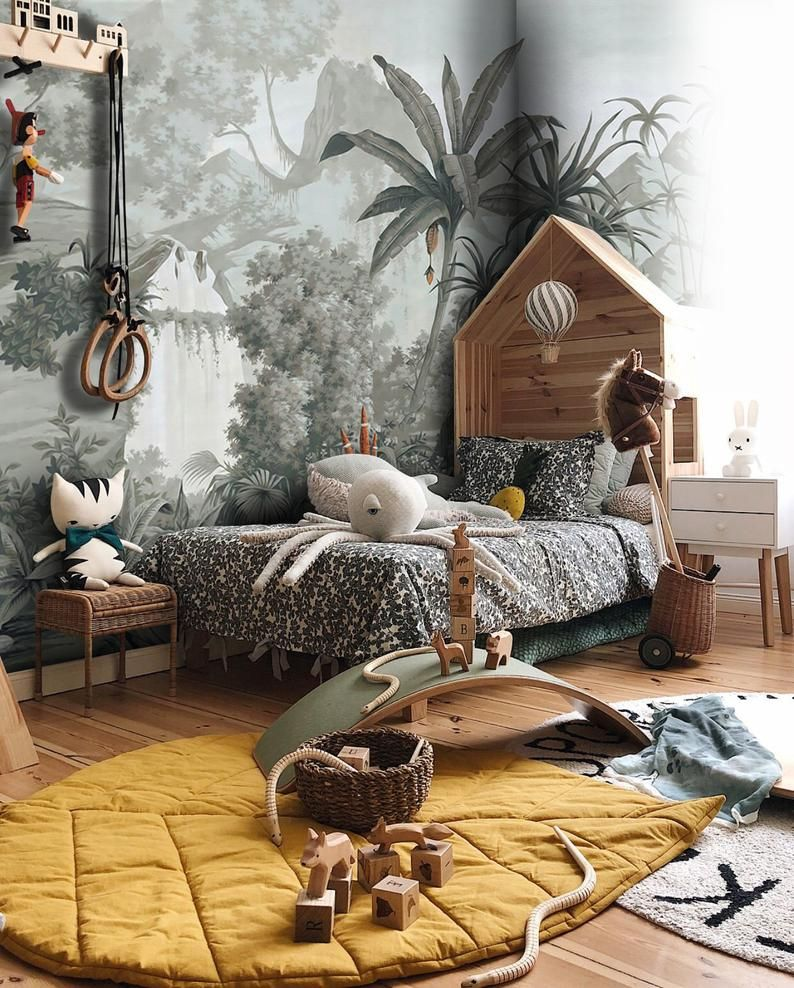 Amazon Forest Wallpaper Tropical Botanic Wall Muralliving Etsy In 2021 Tropical Bedrooms Tropical Living Room Kids Wallpaper Pictures for living room amazon