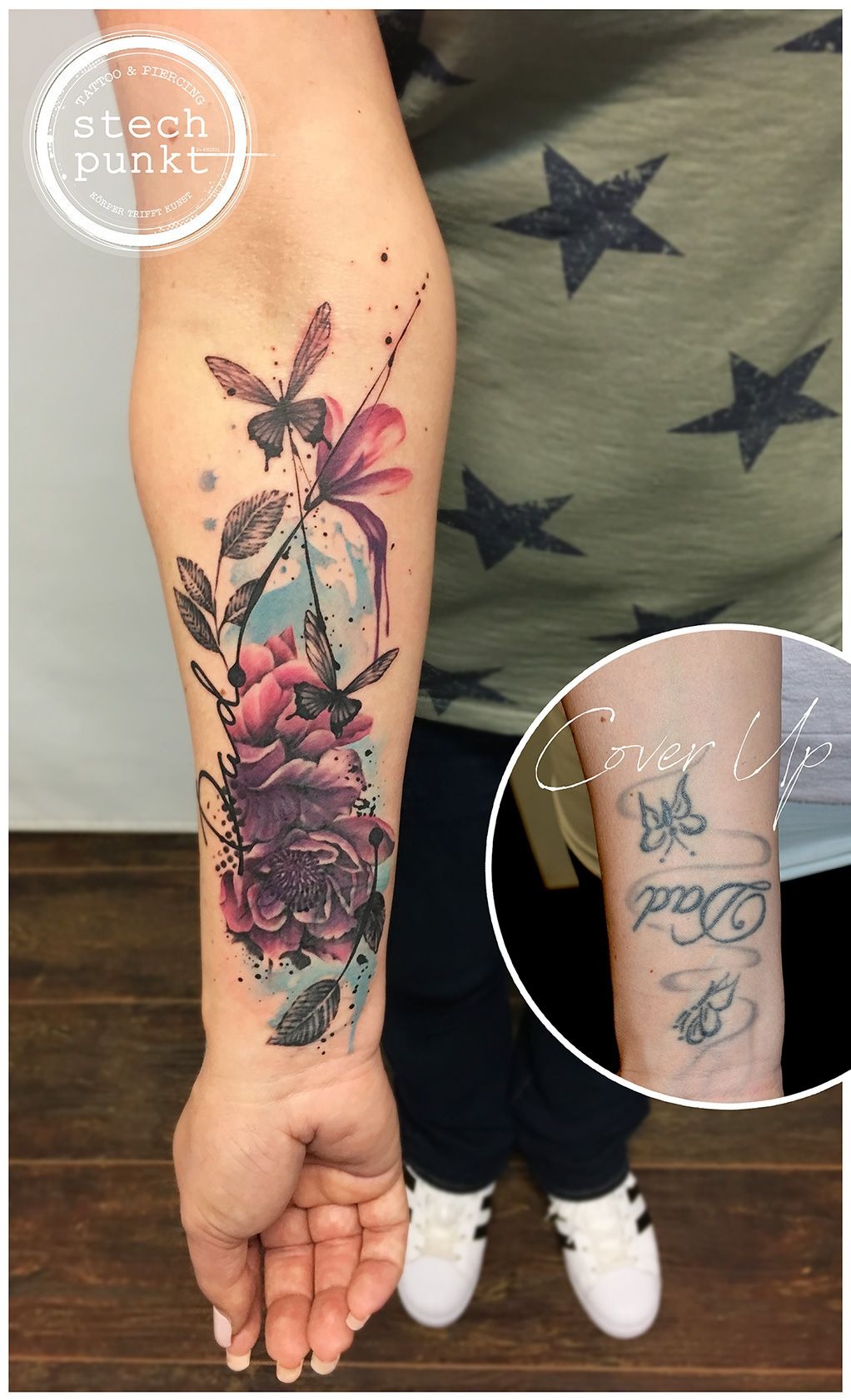 Watercolor Peony Flowers Cover Up Tattoo By Stechpunkt Flower