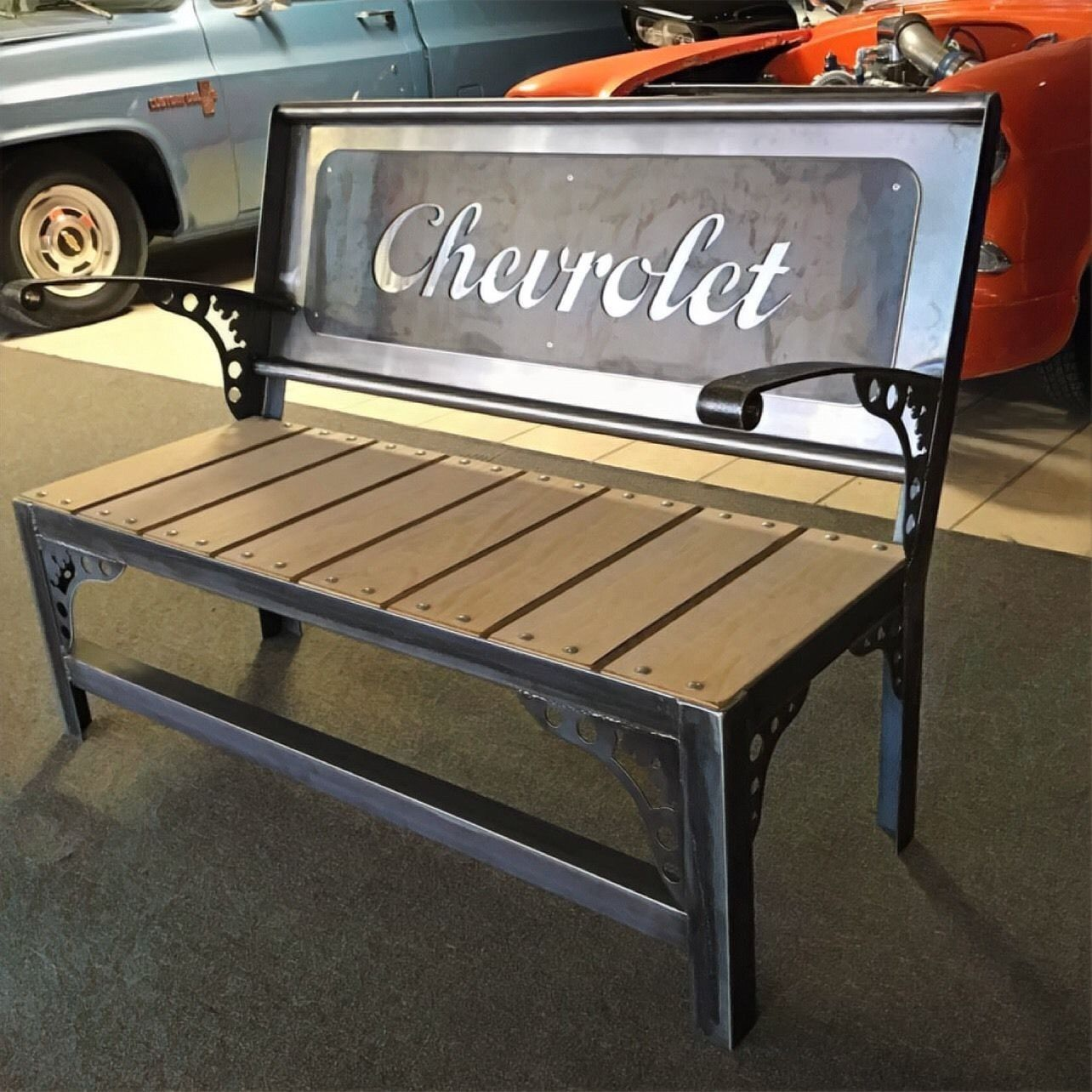 Custom Tailgate Bench Antique Industrial Style, CNC Cut And TIG ...