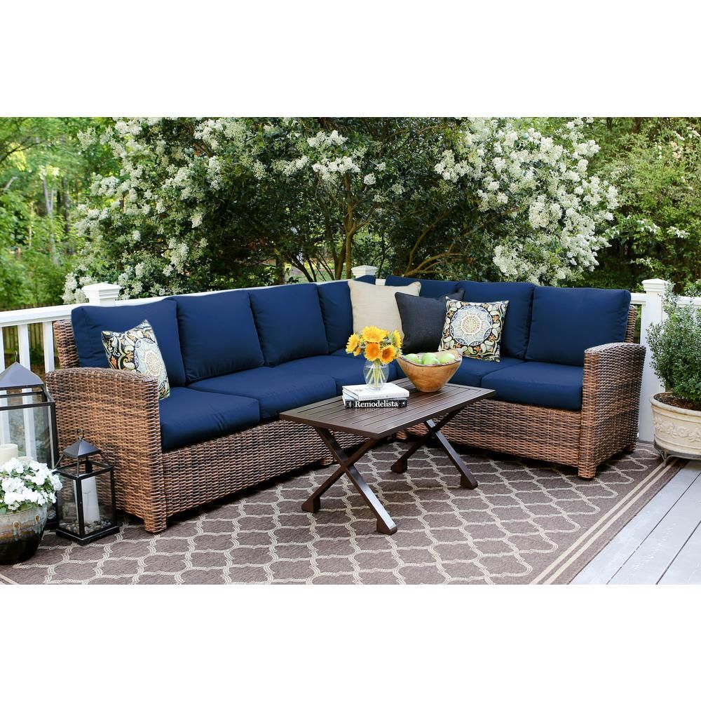 Leisure made dalton piece wicker outdoor sectional set with navy