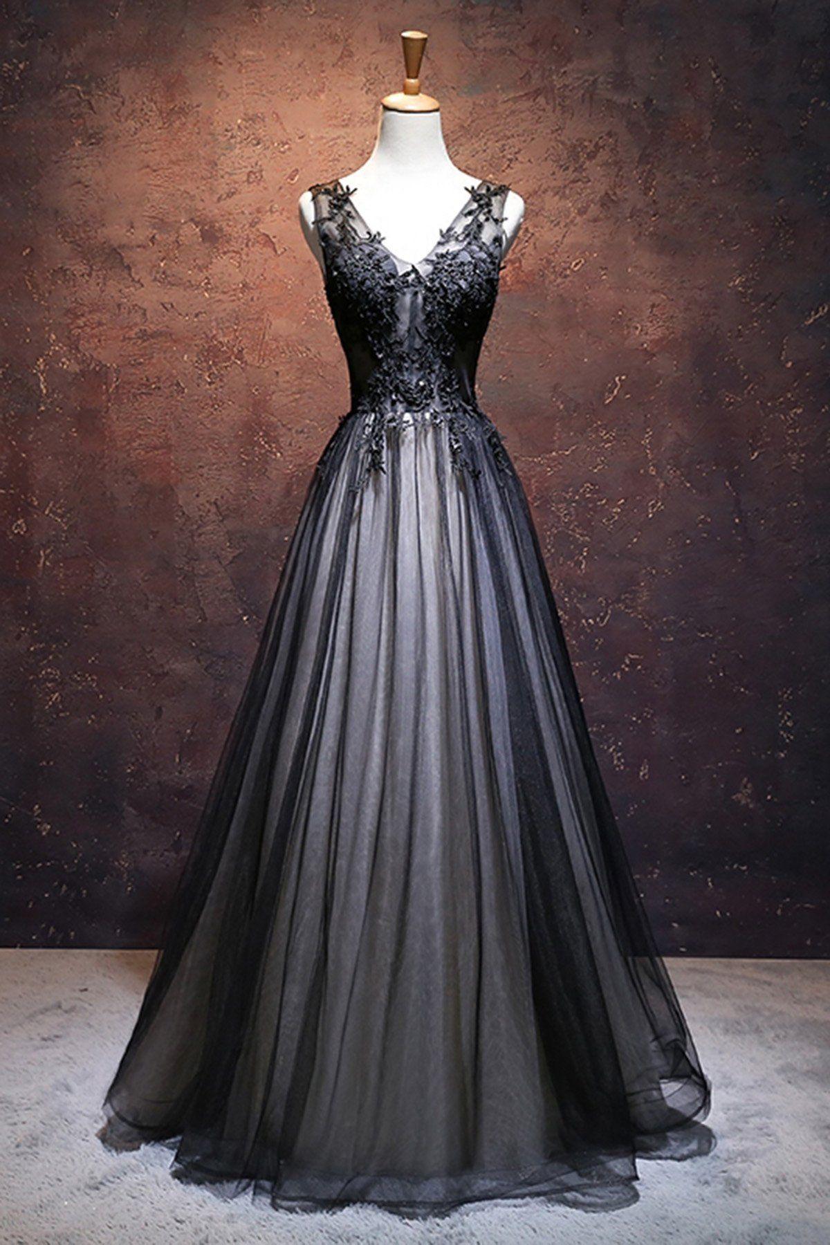 Unique black tulle V neck long A-line handmade senior prom dresses