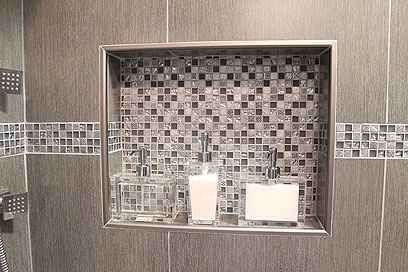 Oversized Shower Niche With Brushed Nickel Metal Trim
