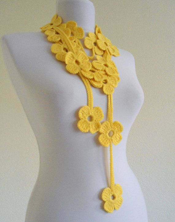 Flower Lariat Scarf Yellow With Crochet Flower By Likeknitting