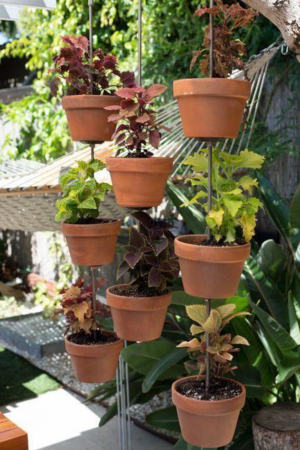 Vertical clay pot garden DIY by The Horticult / Ryan Benoit Design