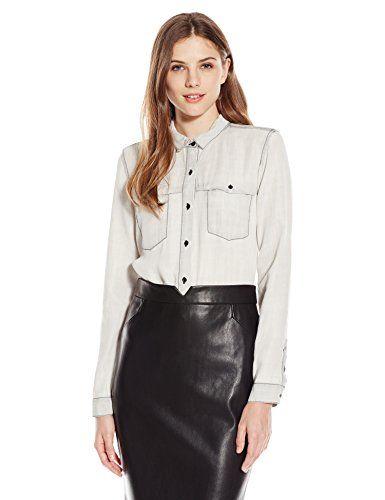 2a6e61f8 Calvin Klein Jeans Women's Long Sleeve Denim Shirt, Grey Sun, Large - http: