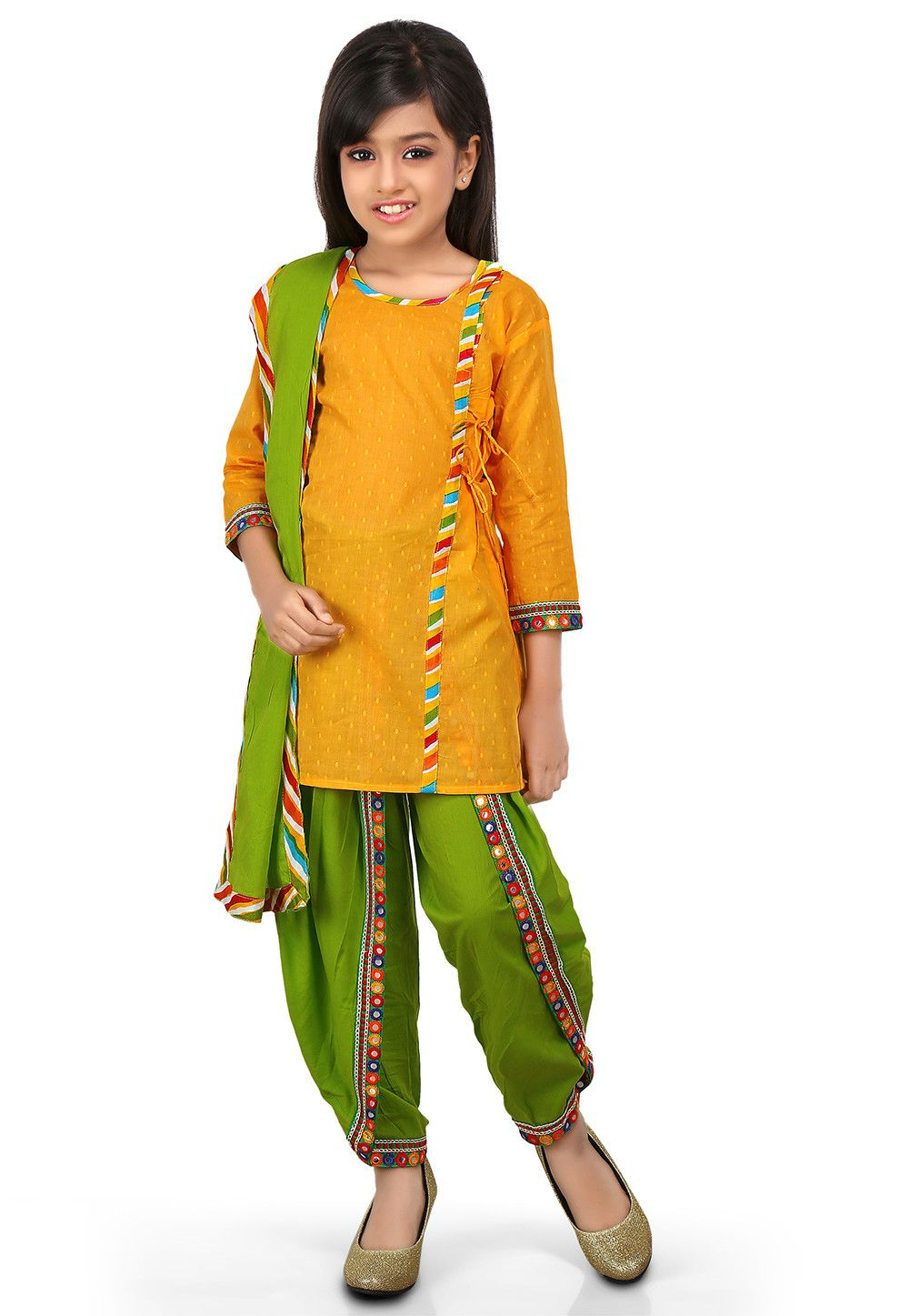 fc0fd45907f2 PLAIN COTTON JACQUARD ANGRAKHA STYLE A LINE SUIT IN YELLOW