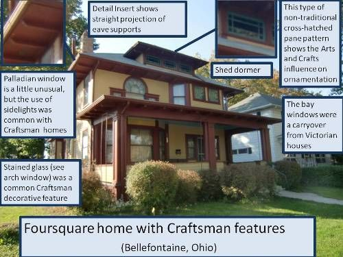 Craftsman style foursquare house craftsman arts - Craftsman style house characteristics ...