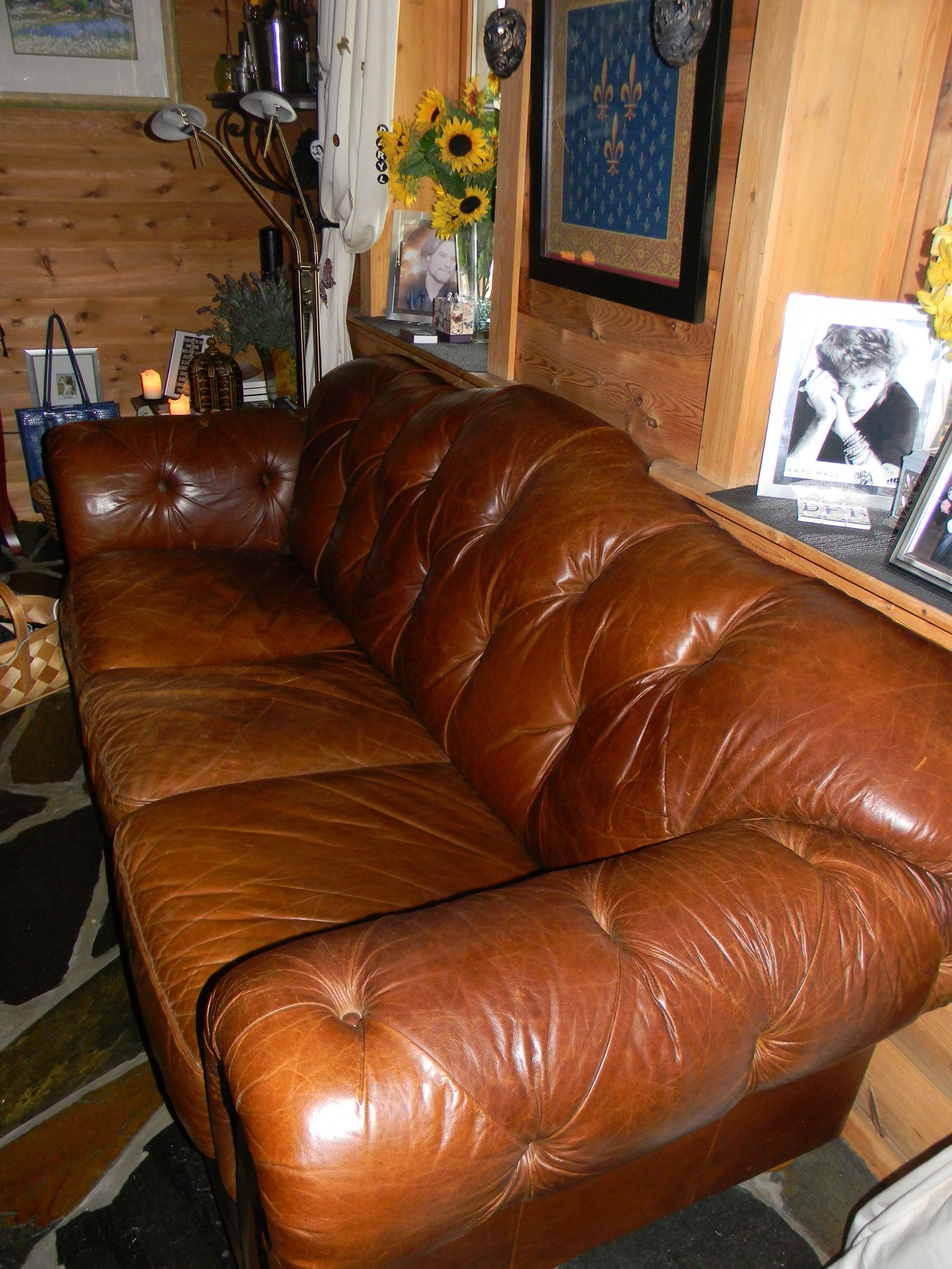 comfy leather couches inside my extremely comfy old leather couch love the tufting tufting its