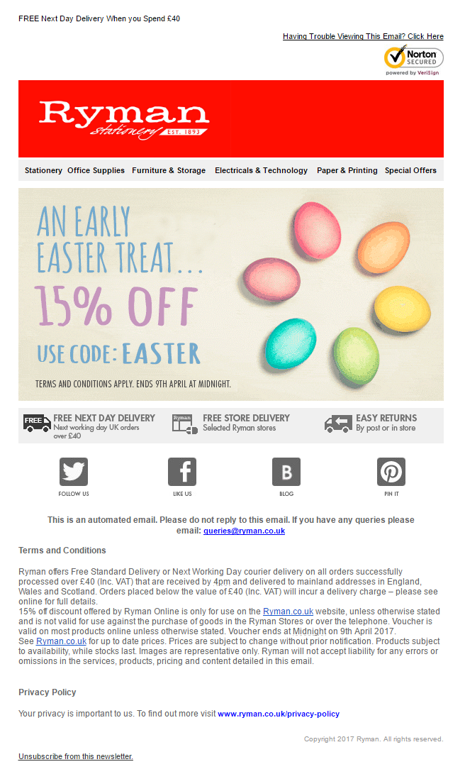 Easter Offer Email from Rymans with discount coupon code