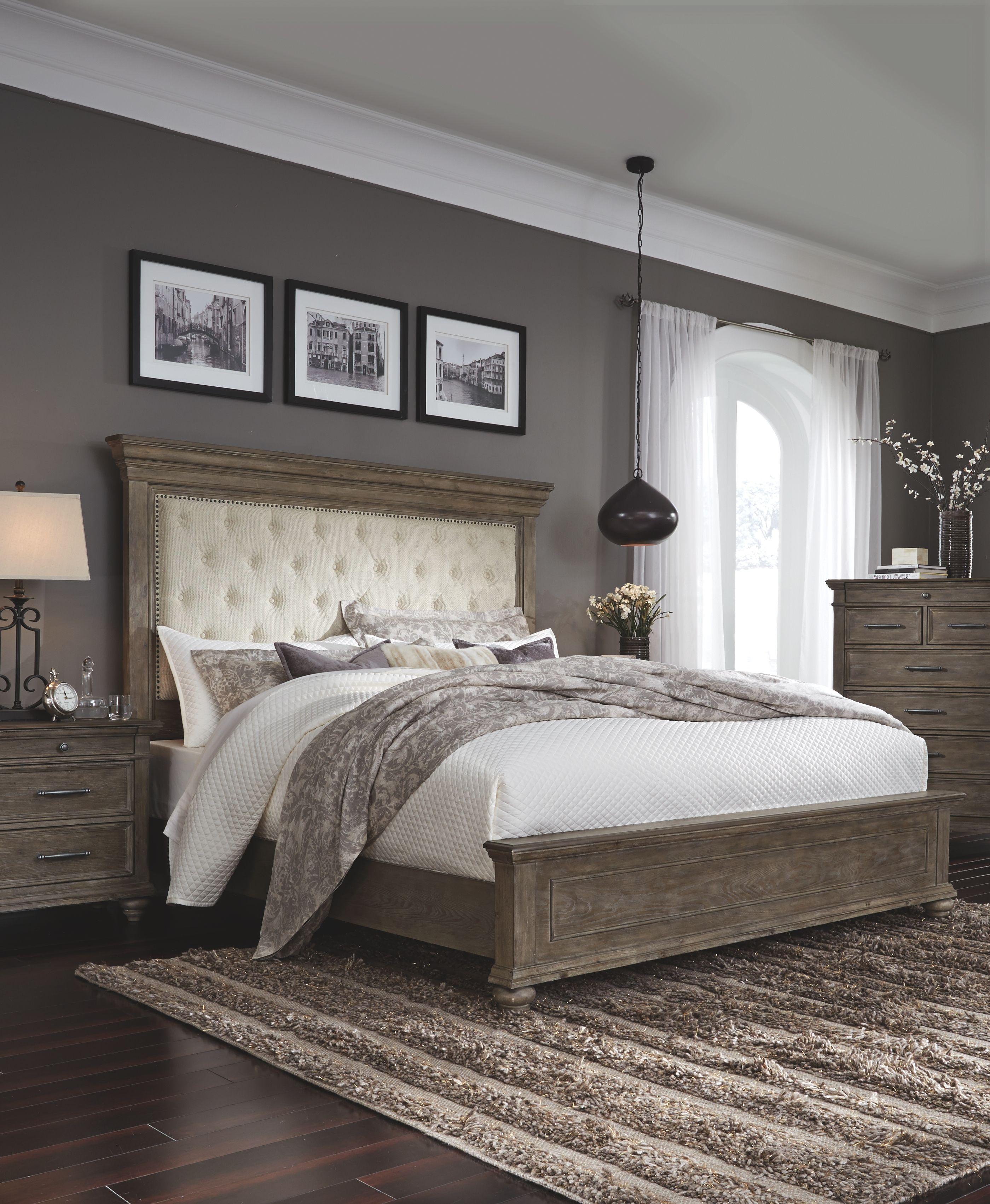 Best Johnelle King Panel Bed Beige In 2020 Bedding Master 640 x 480