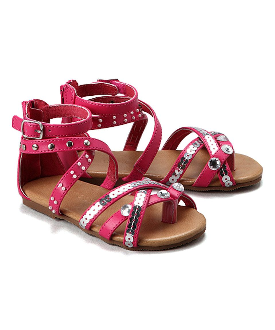 L'Amour Shoes Fuchsia Sequin Gladiator Sandal by L'Amour Shoes #zulily #zulilyfinds