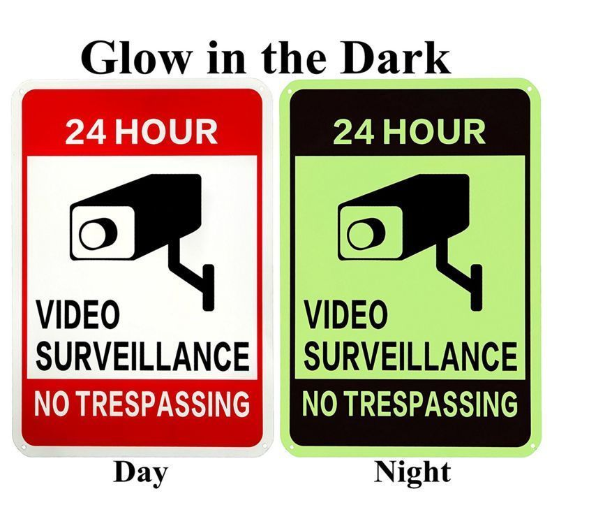 24 Hour Surveillance Video Security Warning Signs Waterproof Glow High Quality Security Signs Video Surveillance Video Security
