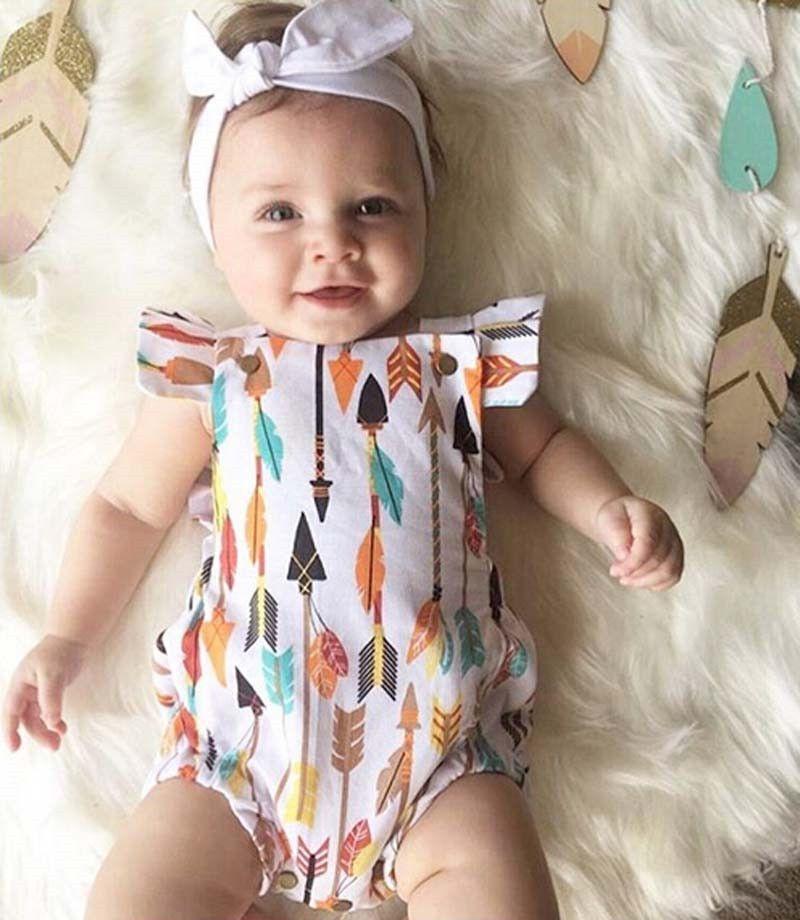 Baby Girl Arrow Fly Sleeve Romper Arrow Babies And Girls