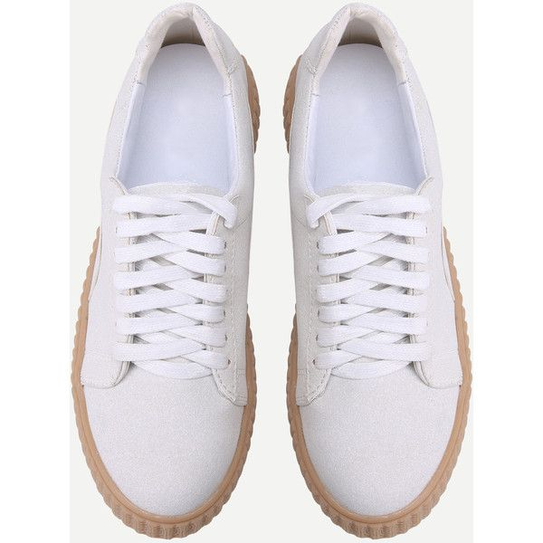 ee81338e35 SheIn(sheinside) Light Grey Faux Leather Lace Up Rubber Soled Shoes  (106.745 COP