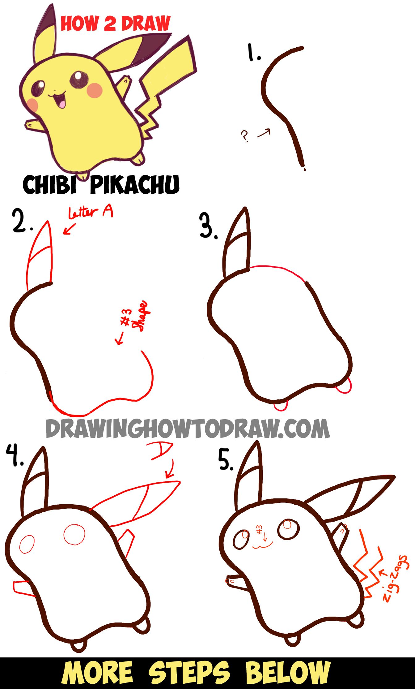 How to Draw Cute Baby Chibi Pikachu from Pokemon - Step by Step ...