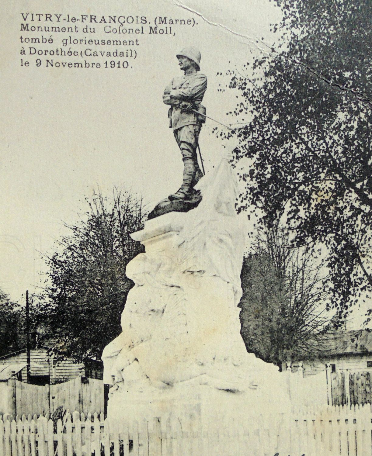 French Postcard Monument Of Colonel Moll Vitry Le Francois