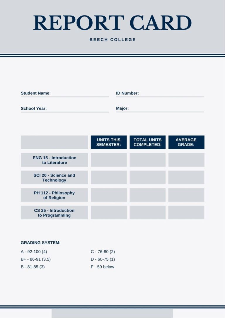 Blue And Gray Simple College Report Card Templatescanva With Regard To College Report Card Template Report Card Template School Report Card Report Card