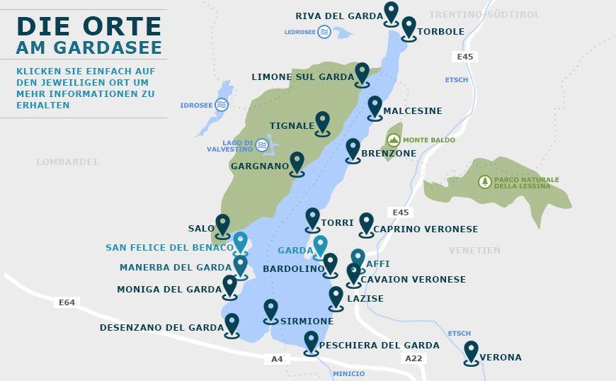 campingplätze gardasee karte Orte am Gardasee   Wissenswertes über die Orte & Städte | Gardasee