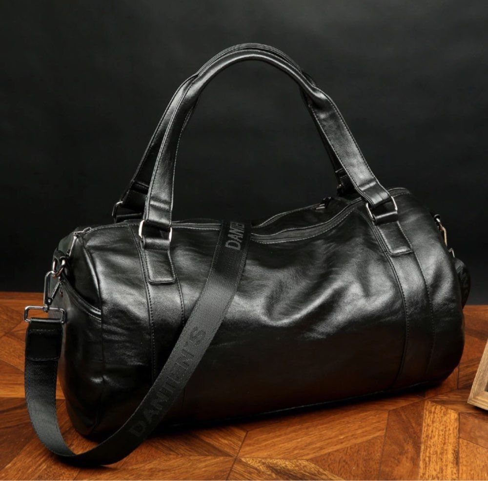 60460891a0e2 ... Classic Soft Leather Fitness Gym Bag Black Brown Cylindrical Leather  Duffel Bag  AOSBOS Leather Duffel Bag - BagPrime - Look Your Best with Amazing  Bags ...