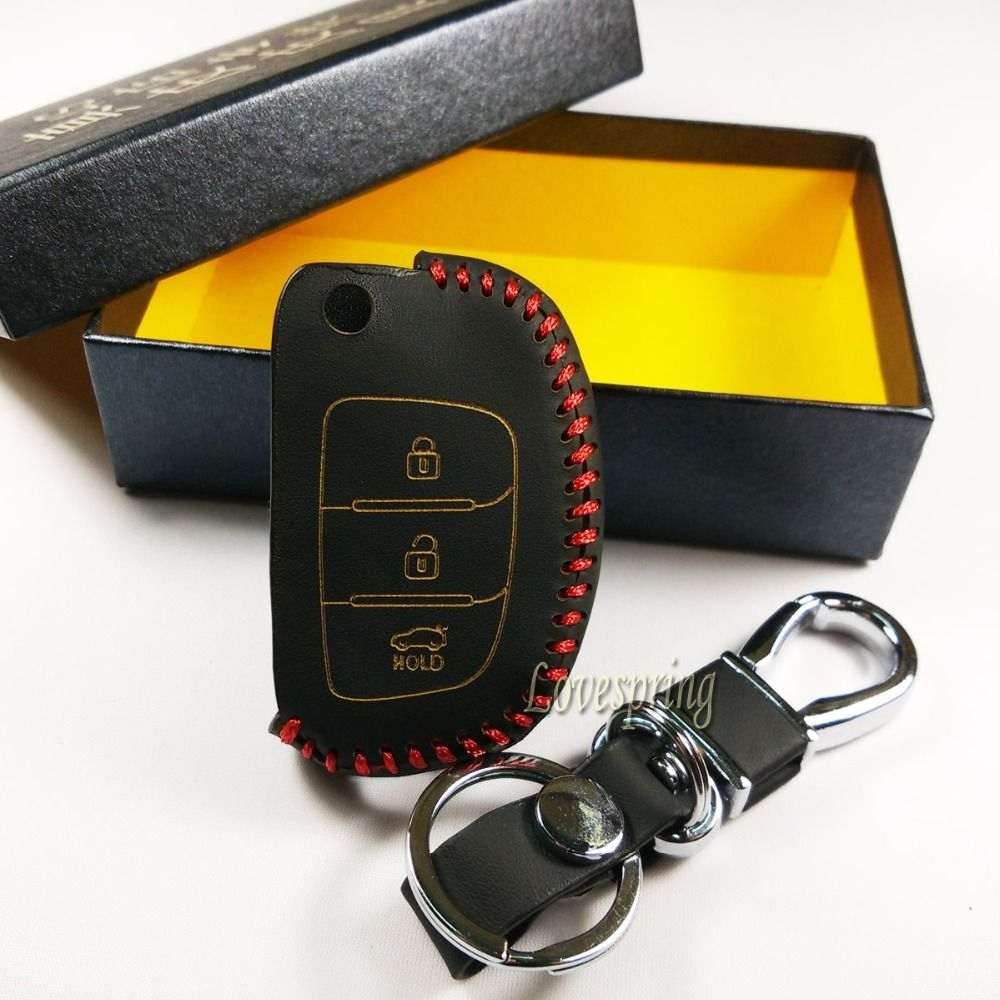 3 Button Folding Flip Remote Genuine Leather Key Cover Cases Car Key