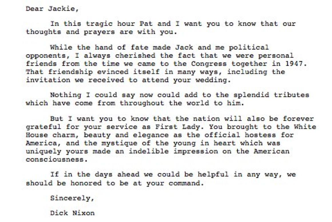 Transcript Of President NixonS Handwritten Condolence Letter To